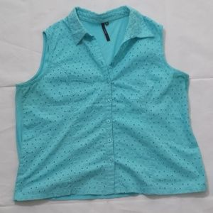 Cathy Daniels Eyelet Cotton Blouse XL